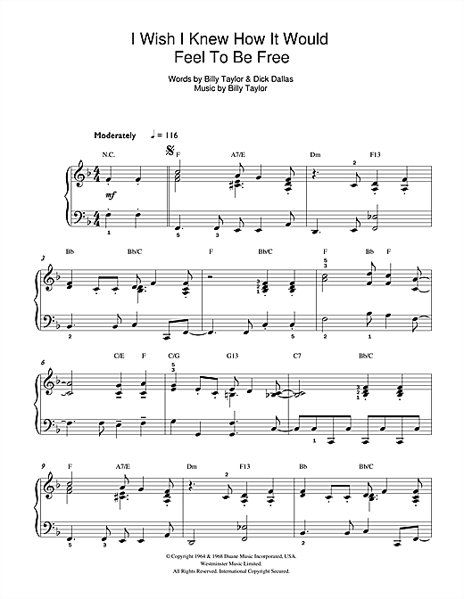 I Wish I Knew How It Would Feel To Be Free sheet music