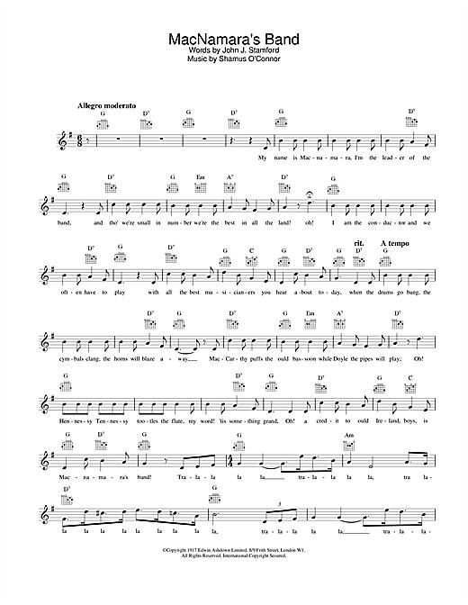 MacNamara's Band sheet music