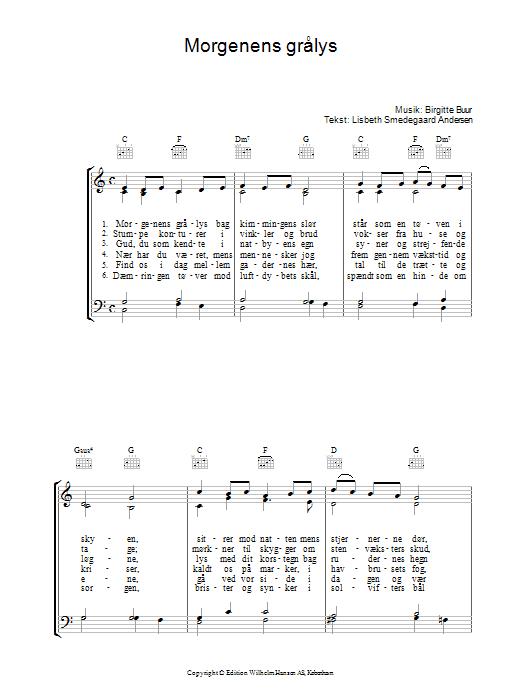 Morgenens Grålys sheet music