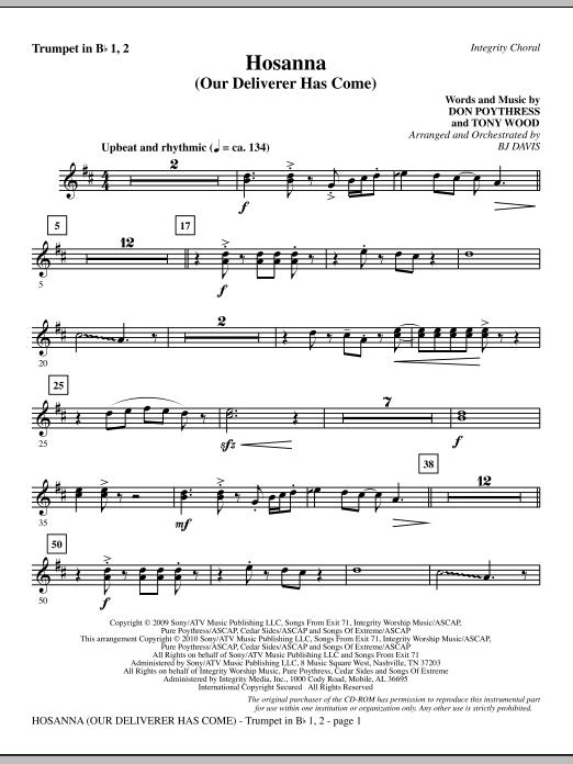 Hosanna (Our Deliverer Has Come) - Bb Trumpet 1,2 sheet music