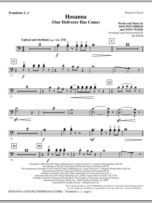 Hosanna (Our Deliverer Has Come) - Trombone 1 & 2 sheet music