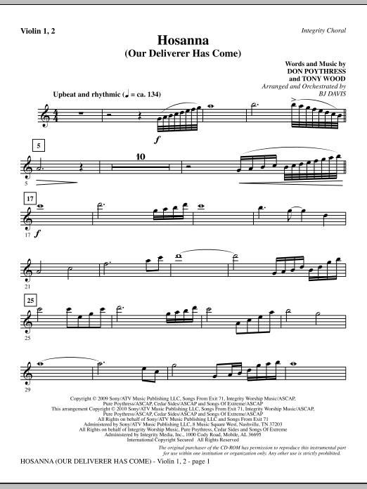 Hosanna (Our Deliverer Has Come) - Violin 1, 2 sheet music
