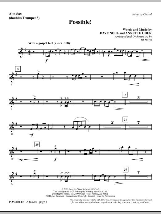 Possible! - Alto Sax (sub. Trumpet 3) sheet music