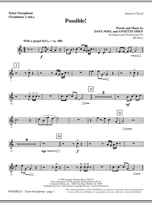 Possible! - Tenor Sax (sub. Tbn 2) sheet music