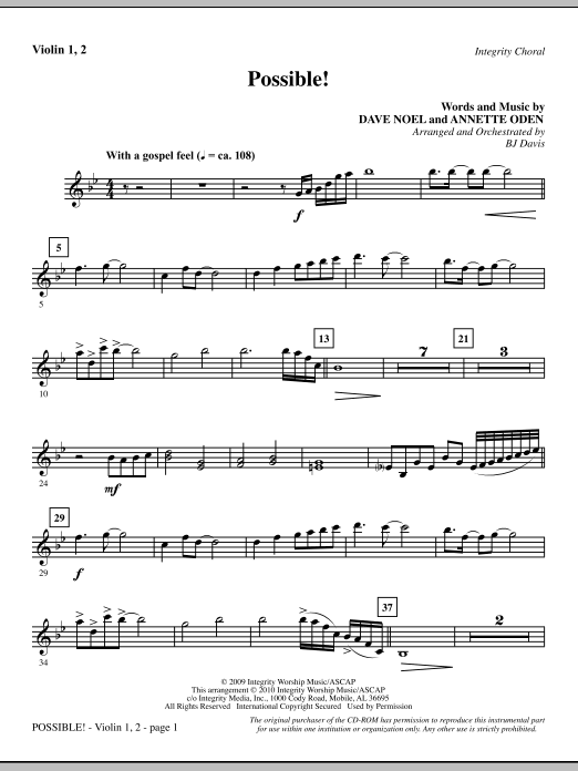 Possible! - Violin 1, 2 sheet music