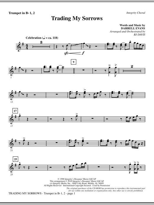 Trading My Sorrows - Bb Trumpet 1,2 sheet music