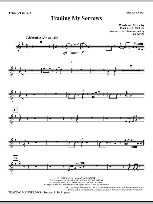 Trading My Sorrows - Bb Trumpet 3 sheet music
