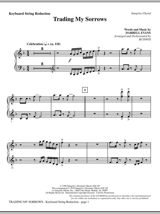 Trading My Sorrows - Keyboard String Reduction sheet music