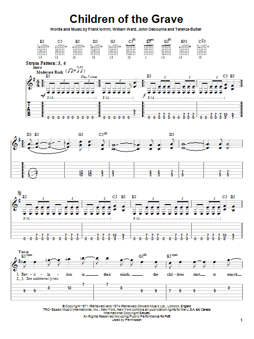 Children Of The Grave sheet music