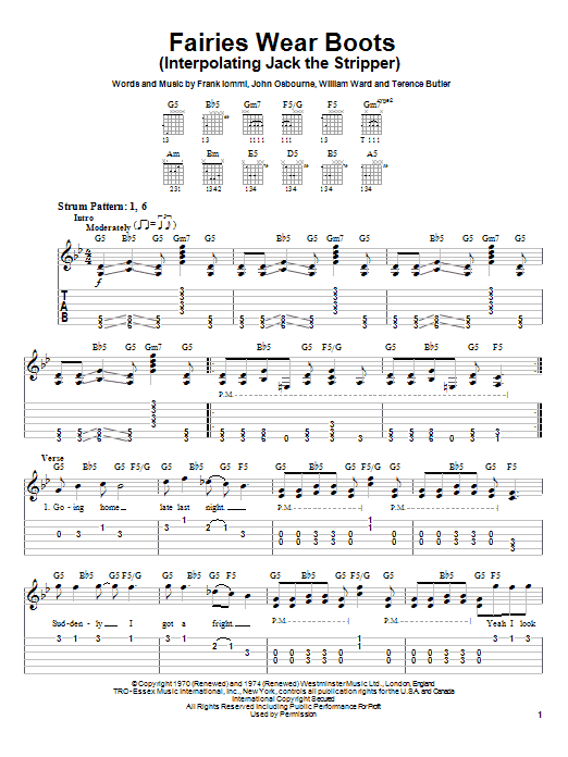 Fairies Wear Boots (Interpolating Jack The Stripper) sheet music