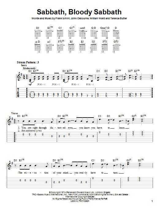 Sabbath, Bloody Sabbath sheet music