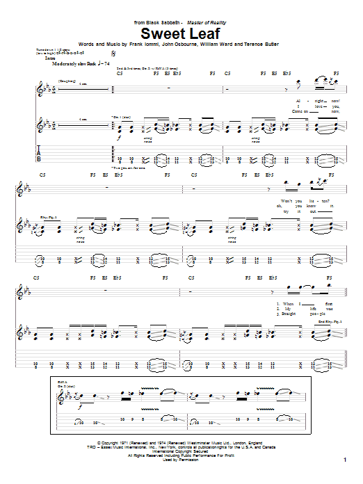 Sweet Leaf sheet music