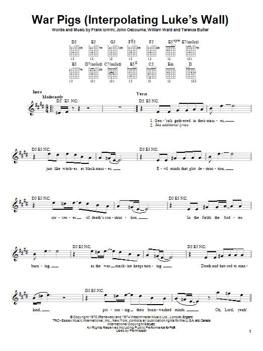 War Pigs (Interpolating Luke's Wall) sheet music