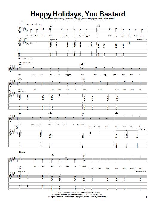 Happy Holidays, You Bastard sheet music