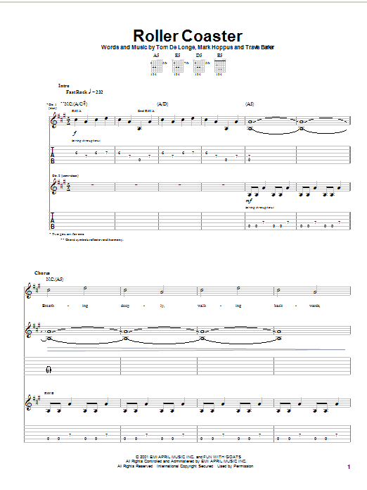Roller Coaster sheet music