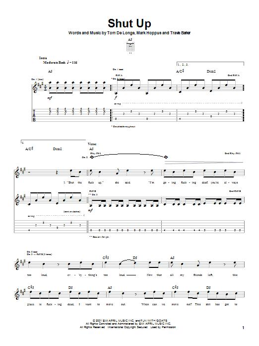 Shut Up sheet music
