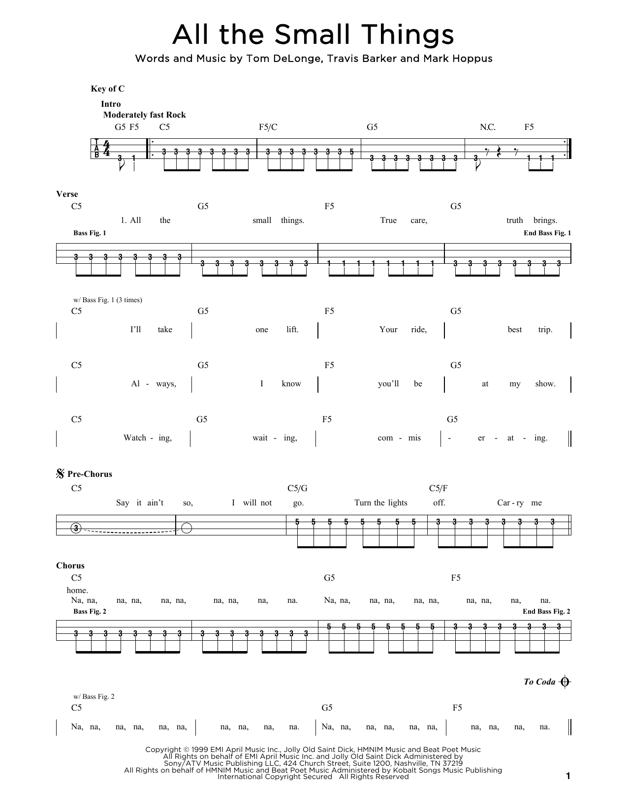 Blink 15 'All The Small Things' Sheet Music Notes, Chords   Download  Printable Drums Transcription   SKU 15