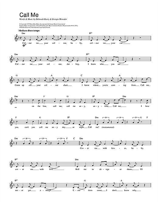 Call Me sheet music