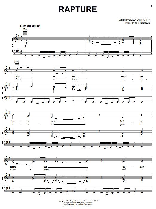 Rapture sheet music