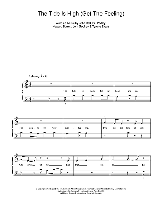 The Tide Is High sheet music