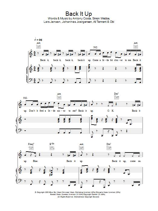 Back It Up sheet music