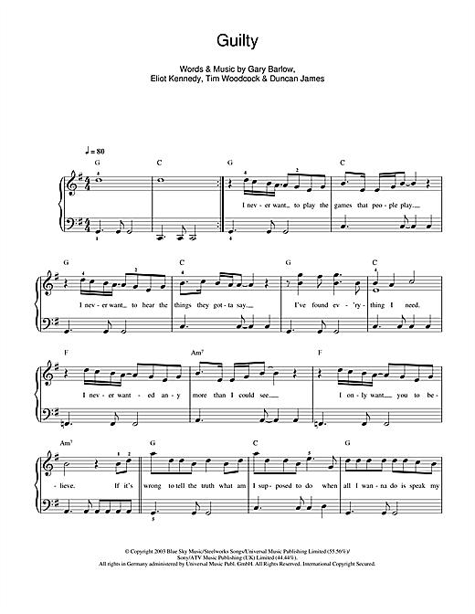 Guilty sheet music
