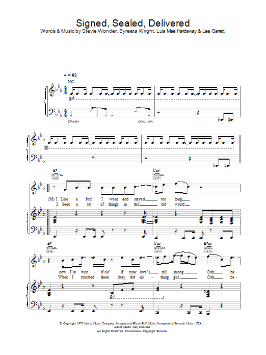 Signed, Sealed, Delivered sheet music
