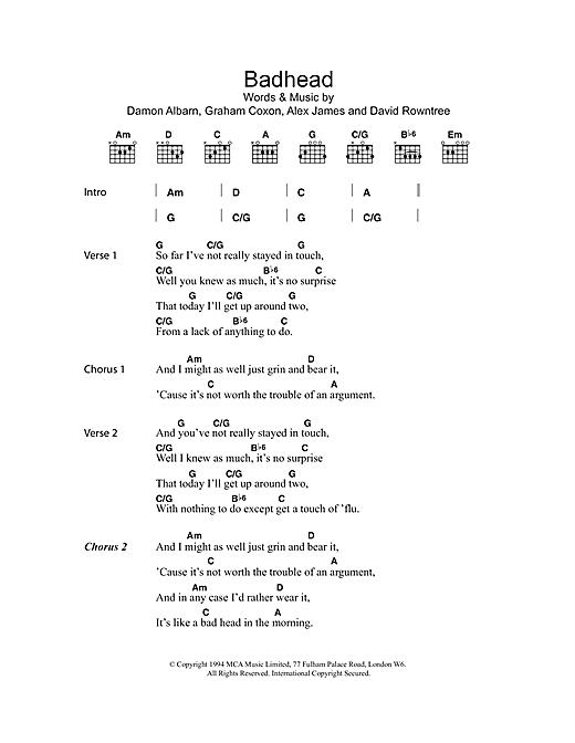 Badhead sheet music