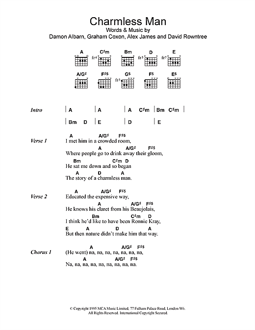 Charmless Man sheet music