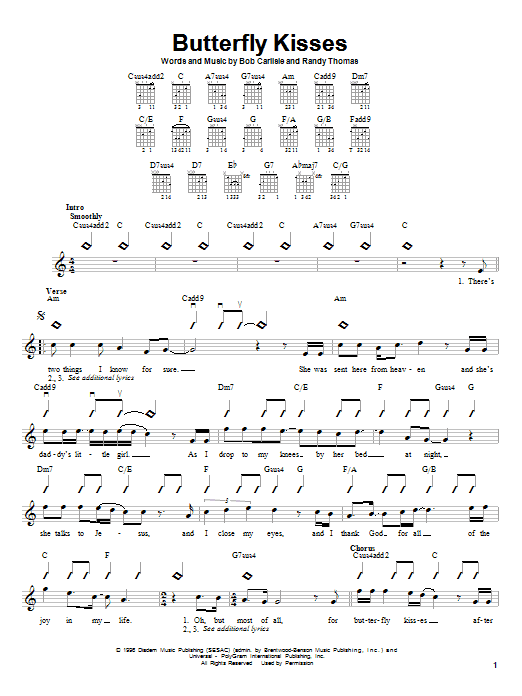 Butterfly Kisses sheet music