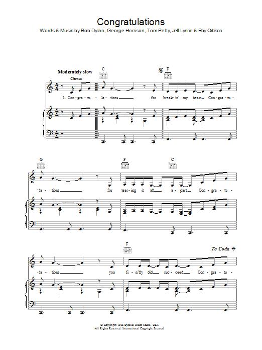 Congratulations sheet music