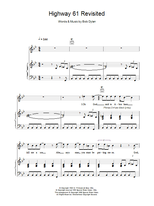 Highway 61 Revisited sheet music