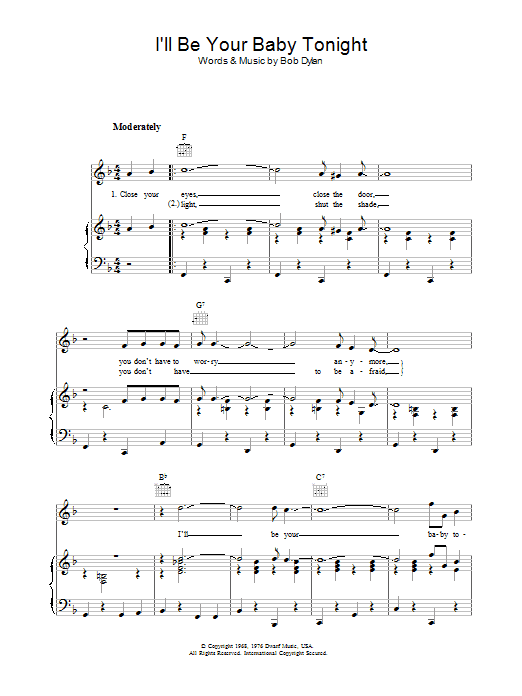 I'll Be Your Baby Tonight sheet music