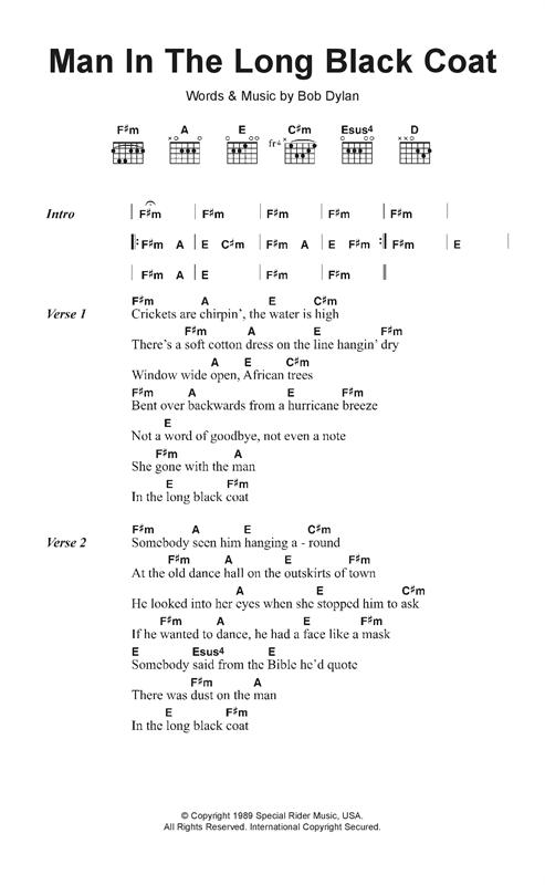 Man In The Long Black Coat sheet music