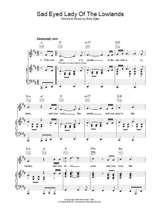 Sad Eyed Lady Of The Lowlands sheet music