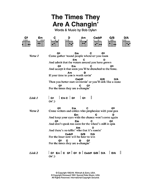 The Times They Are A-Changin' sheet music