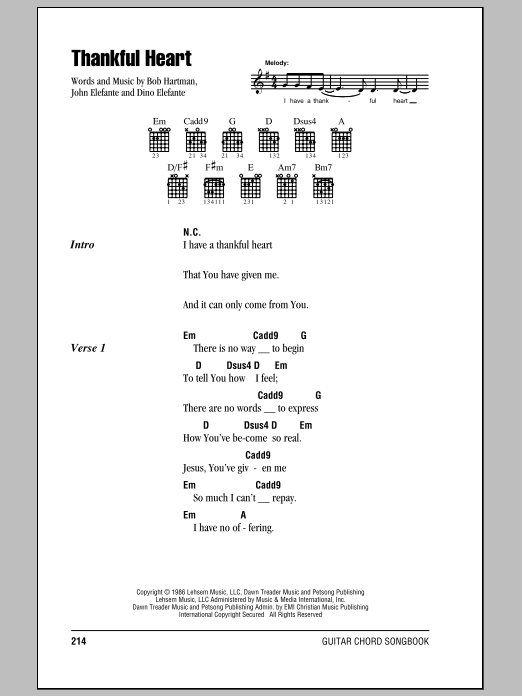 Thankful Heart sheet music
