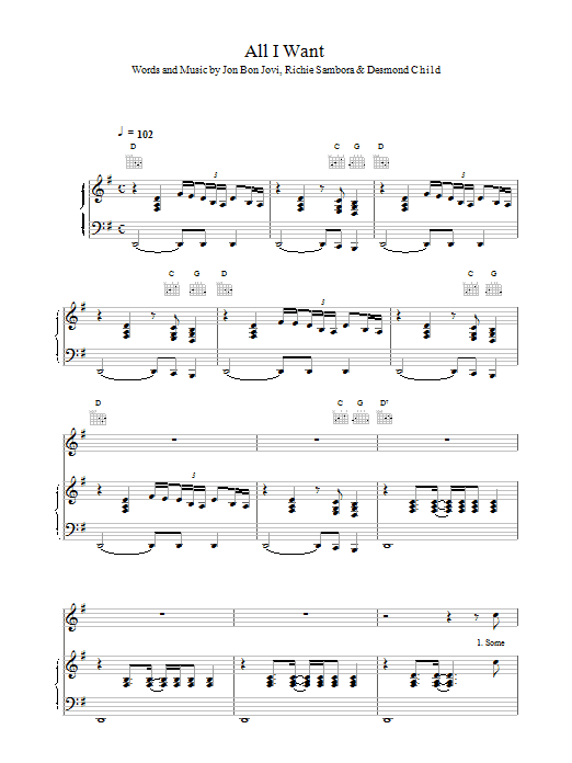 All I Want sheet music