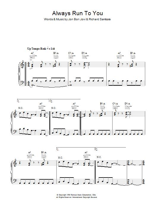 Always Run To You sheet music