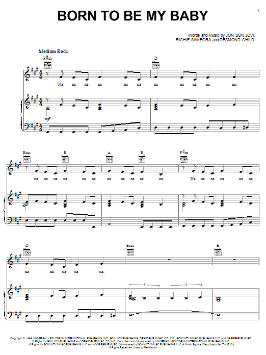 Born To Be My Baby sheet music