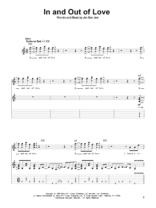 In And Out Of Love sheet music