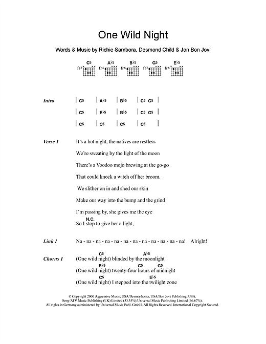 One Wild Night sheet music