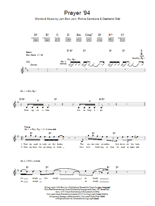 Prayer '94 sheet music