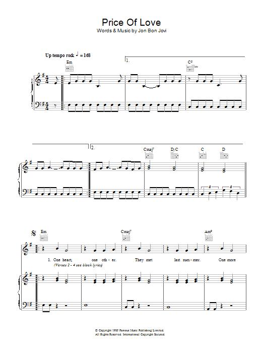 Price Of Love sheet music