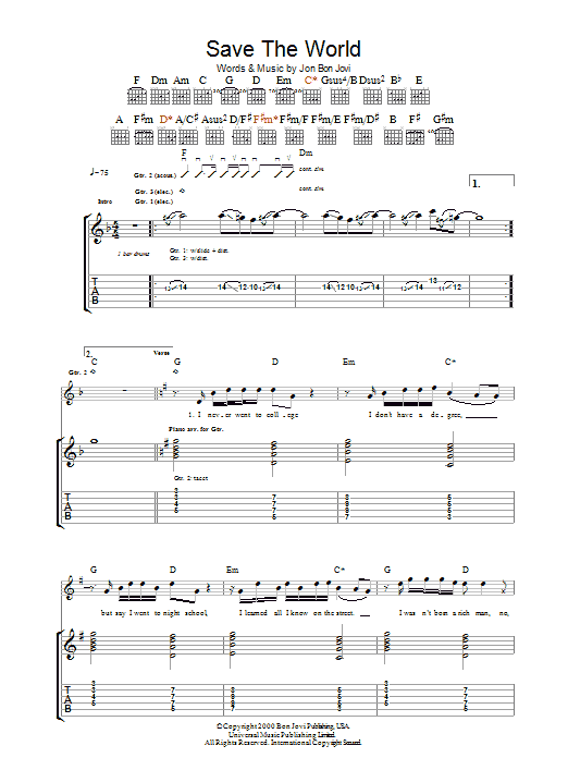 Save The World sheet music