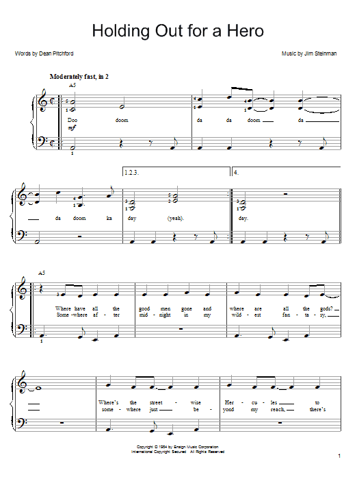 Holding Out For A Hero sheet music