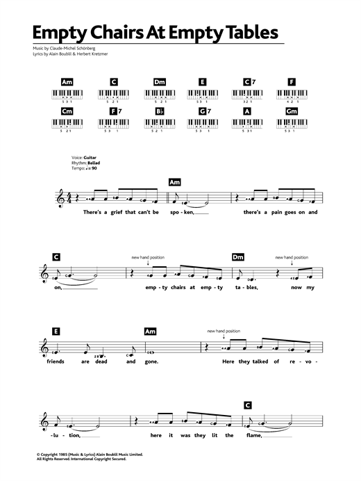 Empty Chairs At Empty Tables (from Les Miserables) sheet music