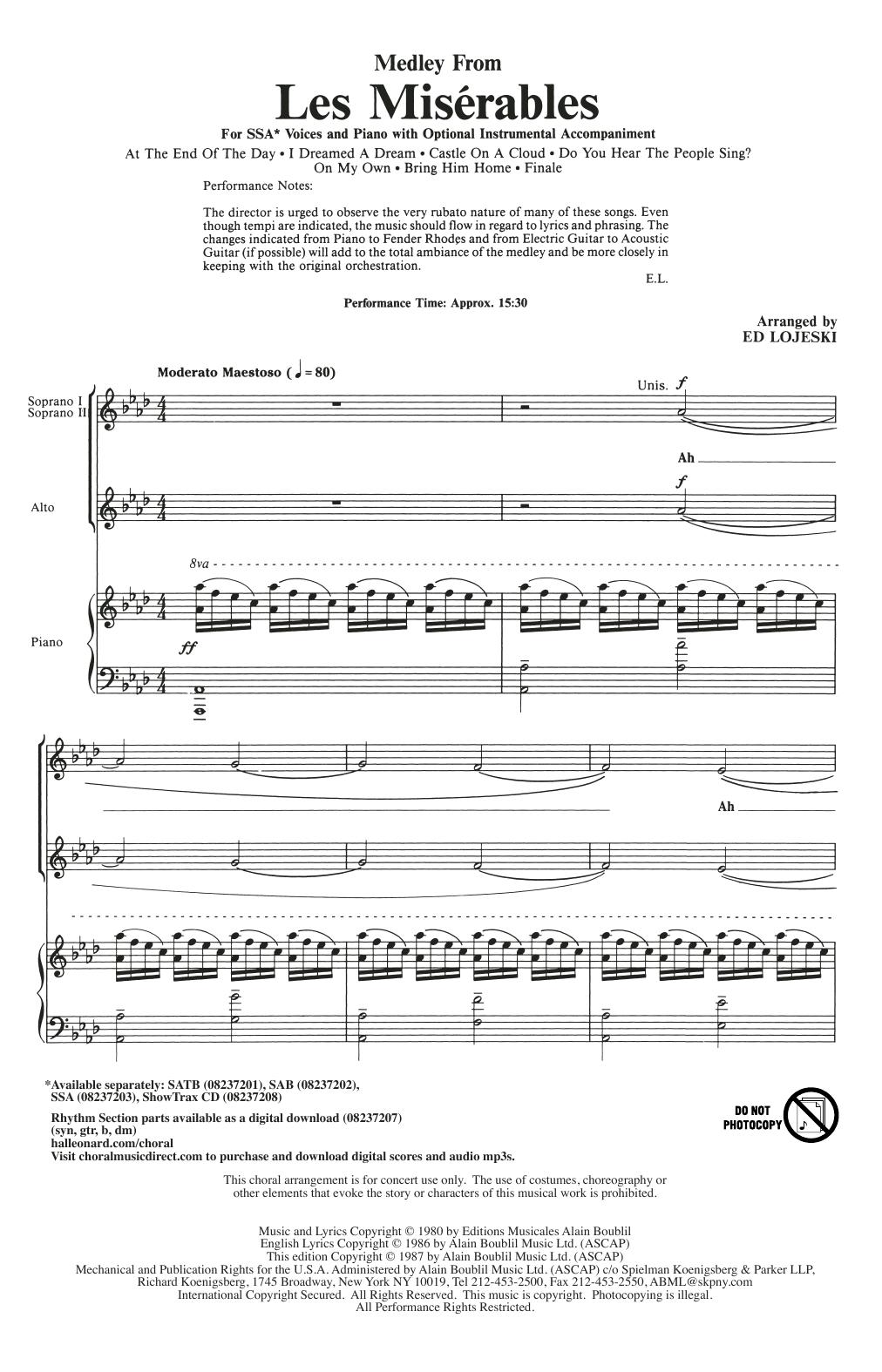 Boublil And Schonberg Les Miserables Choral Medley Arr Ed Lojeski Sheet Music Download Pdf Score 71030