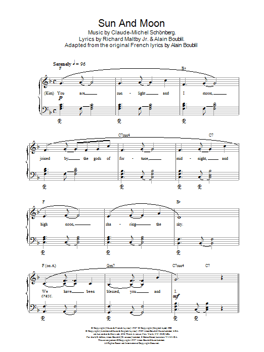 Sun And Moon (from Miss Saigon) sheet music
