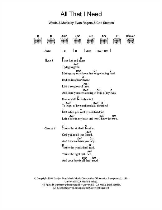 All That I Need sheet music